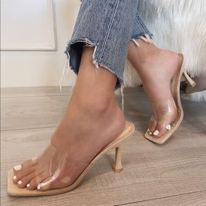 Clear nude square toe heel